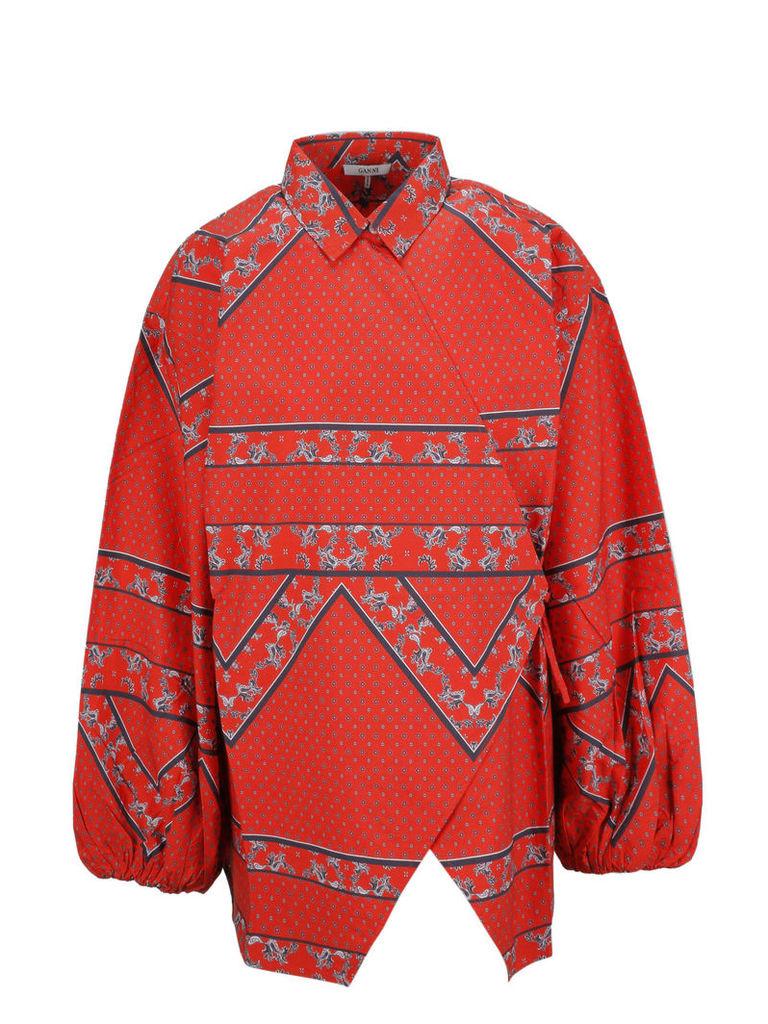 Ganni Printed Wrap Shirt