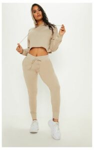 Stone Cropped Hooded Knitted Lounge Set, White