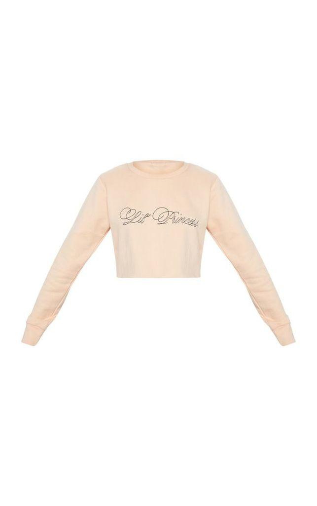 Baby Pink Little Princess Crop Sweater, Pink