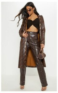 Brown Snake Print PU Trench, Brown