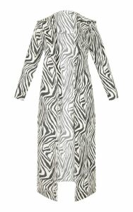 Tall White Faux Suede Zebra Print Longline Coat, White