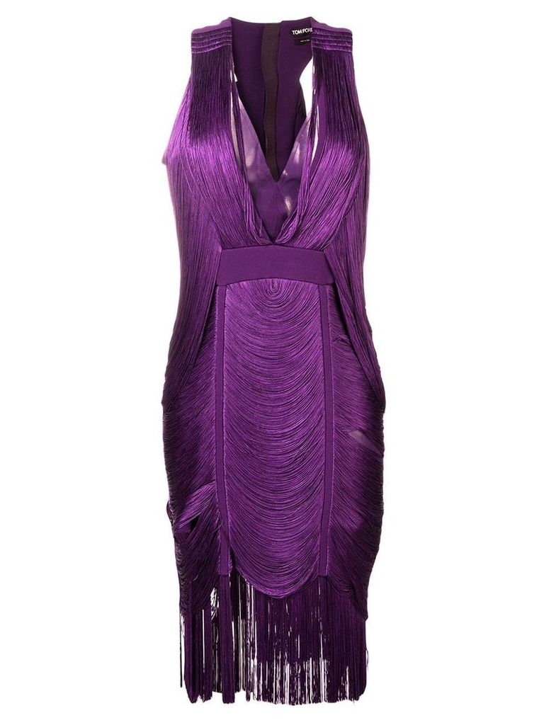 Tom Ford fringed V-neck dress - Purple