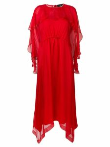 Irina Schrotter long ruffled dress - Red
