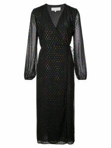 Michelle Mason polka dot wrap dress - Black