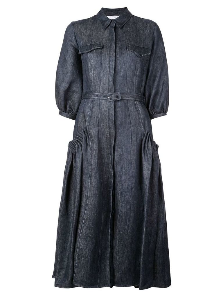Gabriela Hearst denim long-sleeve flared dress - Blue