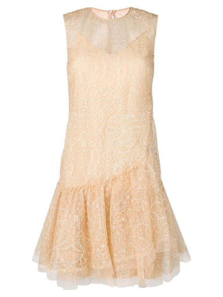 Ermanno Scervino embroidered mini dress - Neutrals