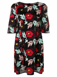 Talbot Runhof floral embroidered shift dress - Black