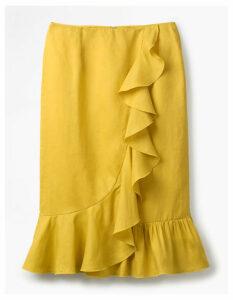 Neve Linen Skirt Yellow Women Boden, Yellow