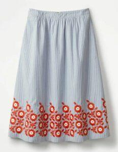 Haidee Embroidered Skirt Blue Women Boden, Blue