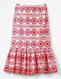 Broderie Skirt White Women Boden, Red