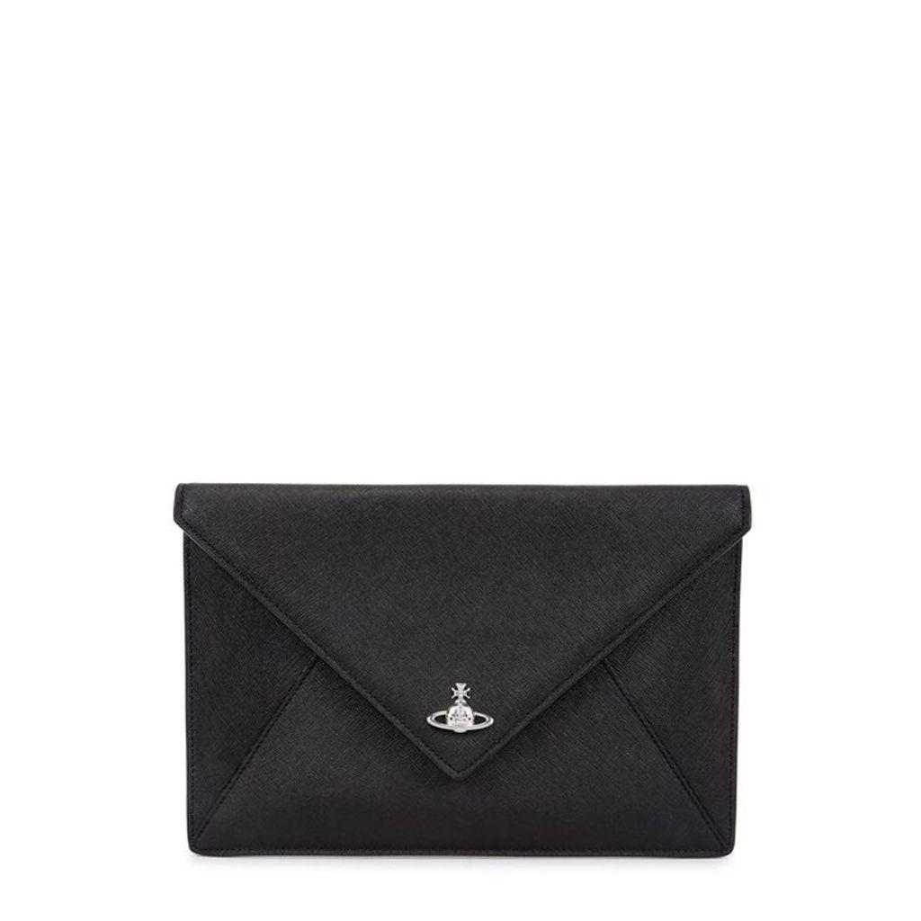 Vivienne Westwood Victoria Black Saffiano Leather Clutch