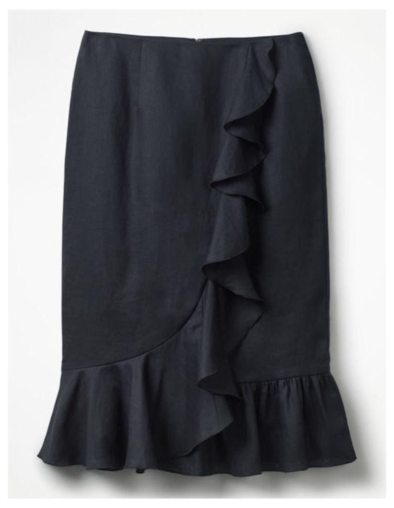 Neve Linen Skirt Navy Women Boden, Navy