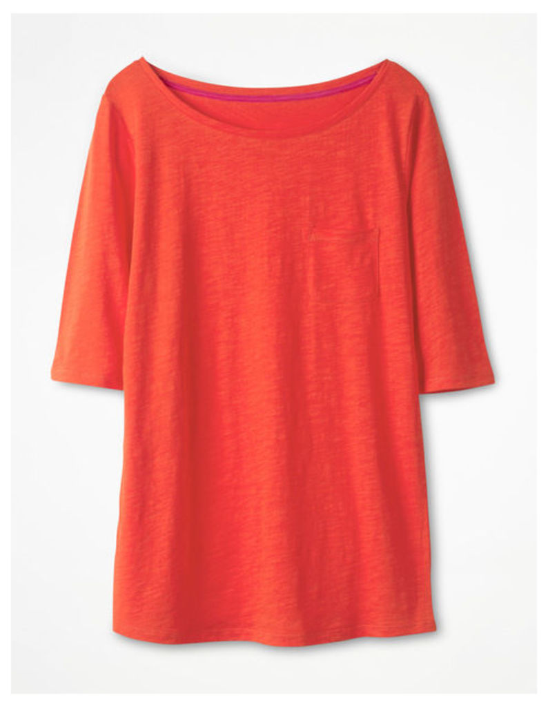 The Cotton Boat Neck Tee Red Women Boden, Red