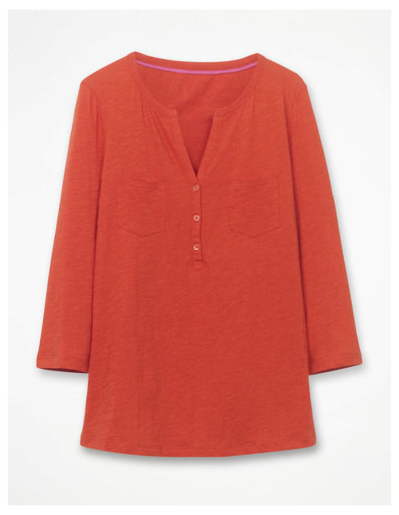 The Cotton Henley Tee Red Women Boden, Red