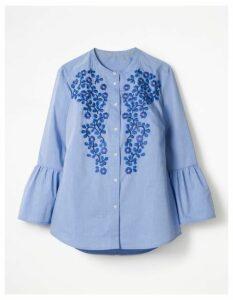 Embroidered Bell Sleeve Shirt Blue Women Boden, Blue