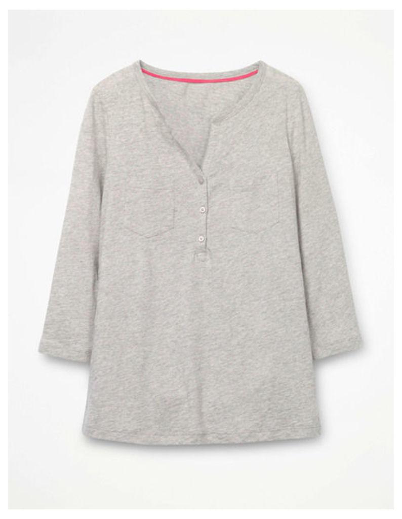 The Cotton Henley Tee Grey Women Boden, Grey