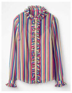 Kathleen Ruffle Shirt Multi Women Boden, Multicouloured