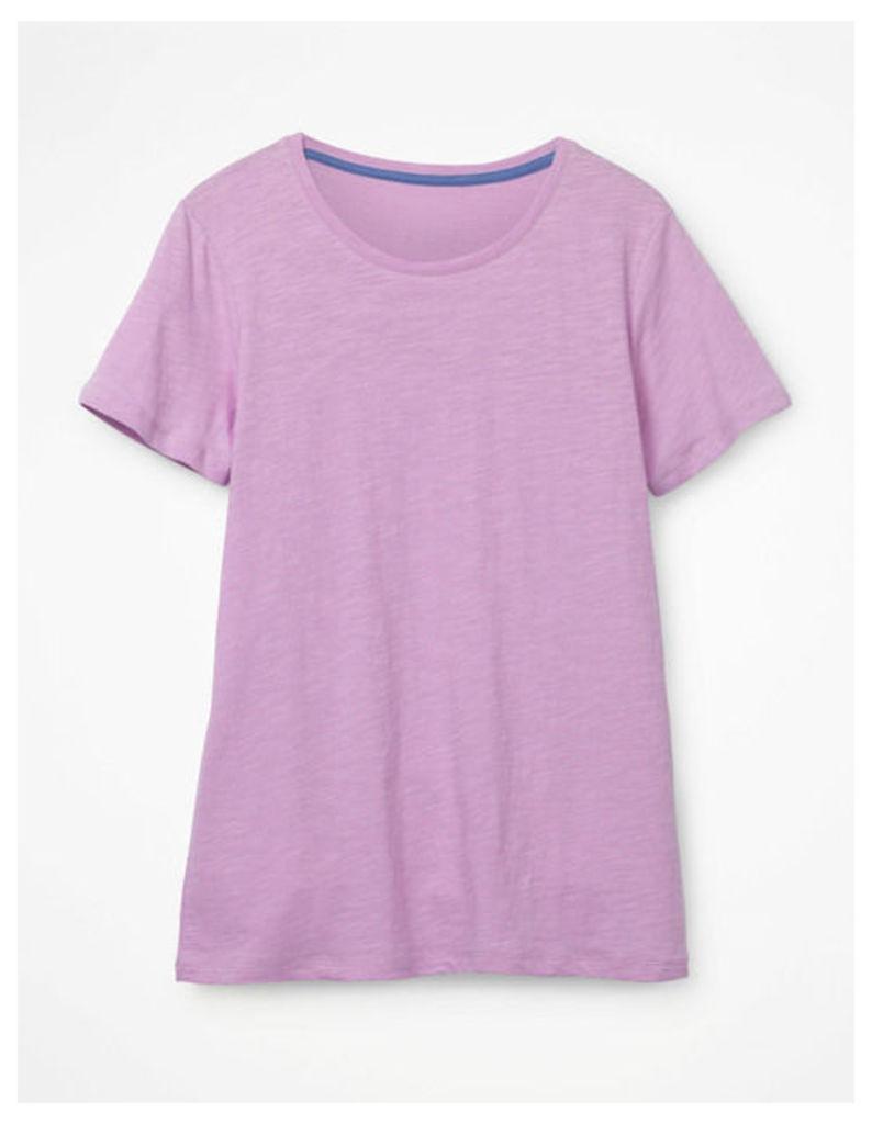 The Cotton Crew Neck Tee Purple Women Boden, Pink
