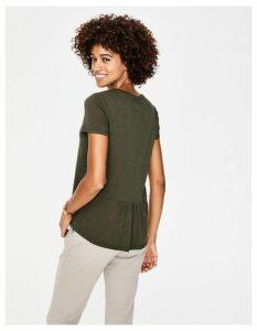 The Cotton Back Detail Tee Khaki Women Boden, Khaki