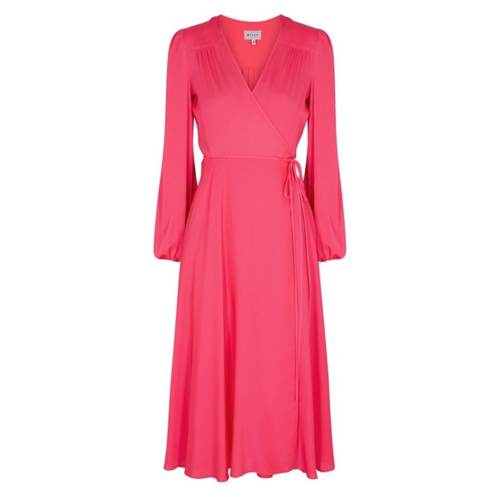 MILLY Gina Fuchsia Silk Midi Dress