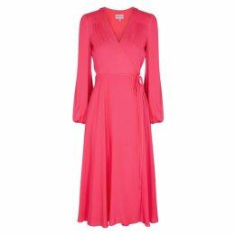 MILLY Gina Fuchsia Silk Midi Dress