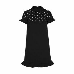 RED Valentino Black Embellished Cady Dress