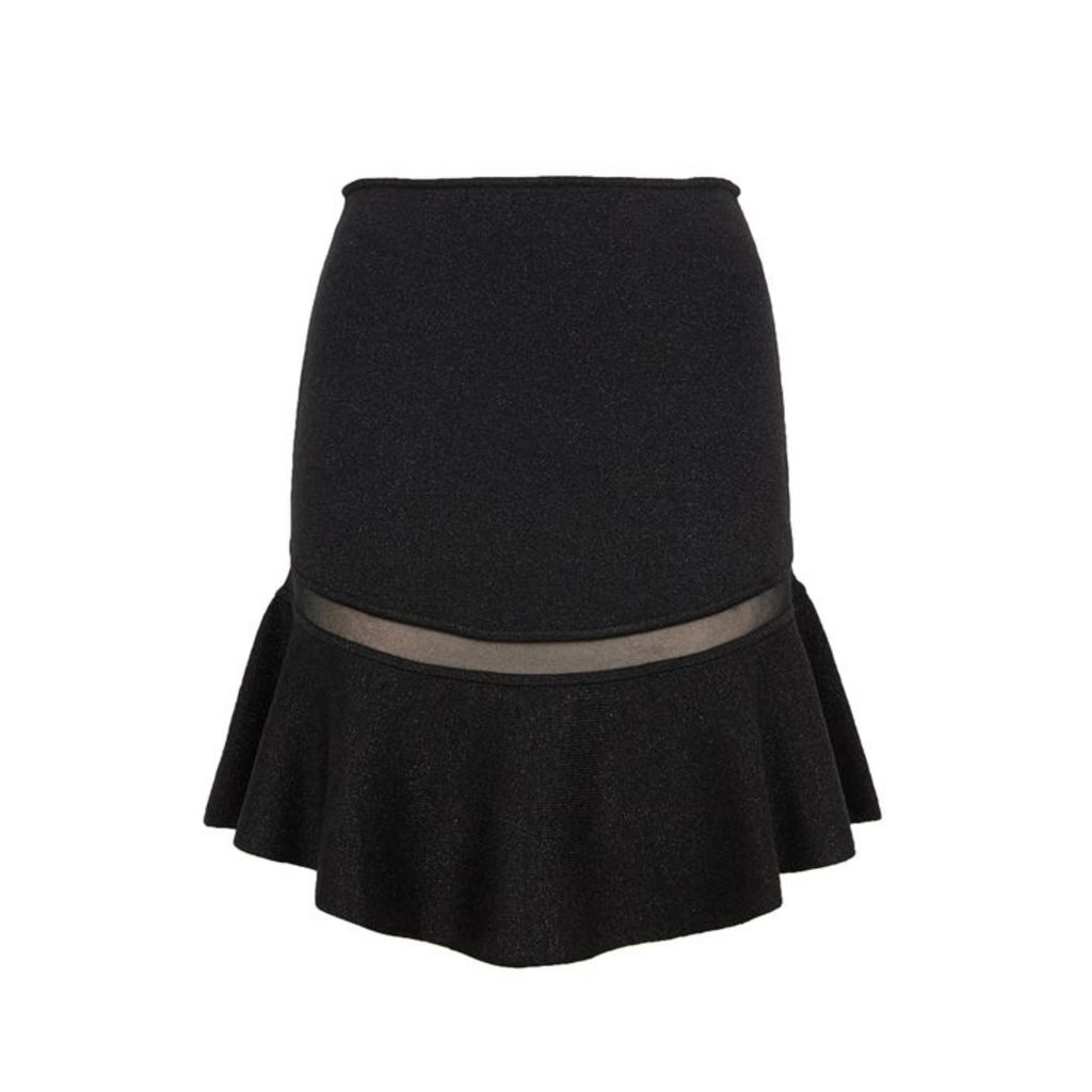 Alice + Olivia Lisabeth Black Metallic-knit Skirt