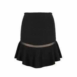 Alice + Olivia Lisabeth Black Metallic-knit Skirt