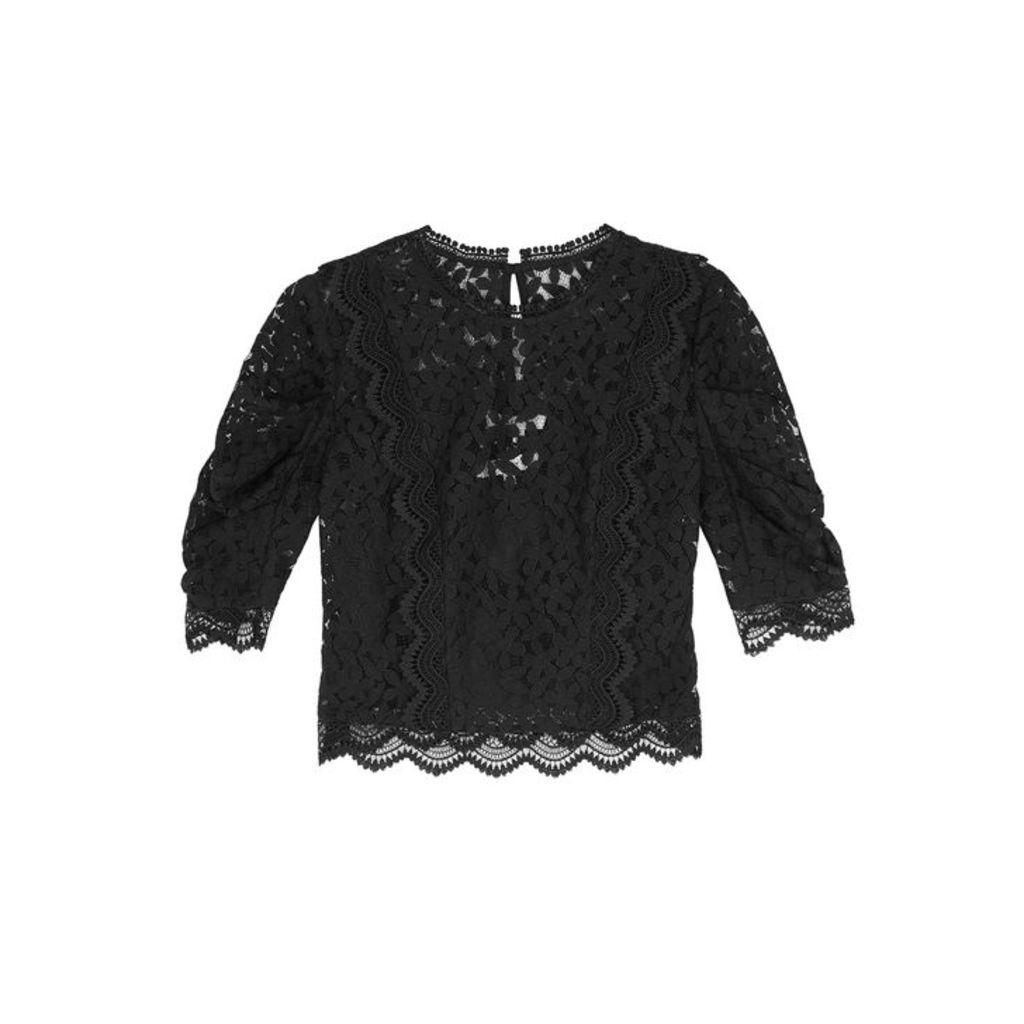 MILLY Felicity Black Cropped Lace Top