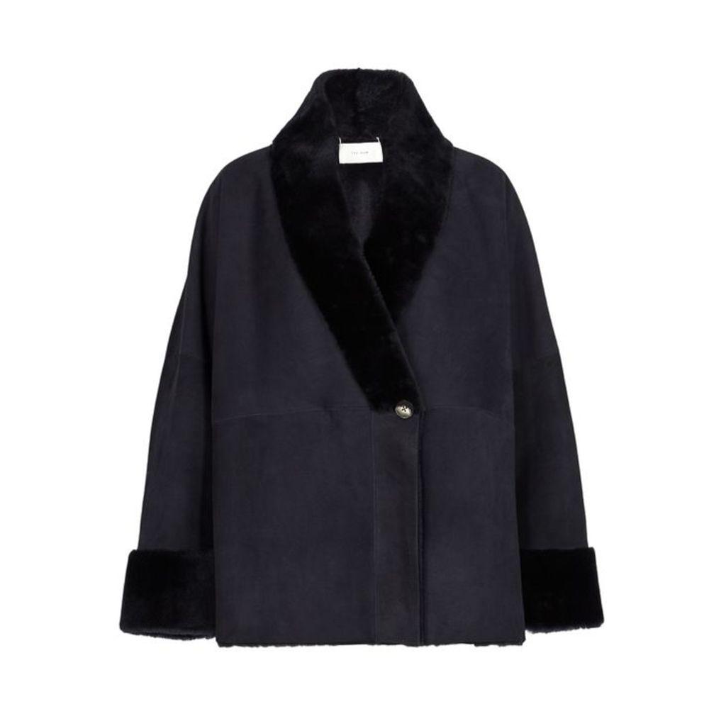 THE ROW Pernia Navy Shearling Jacket