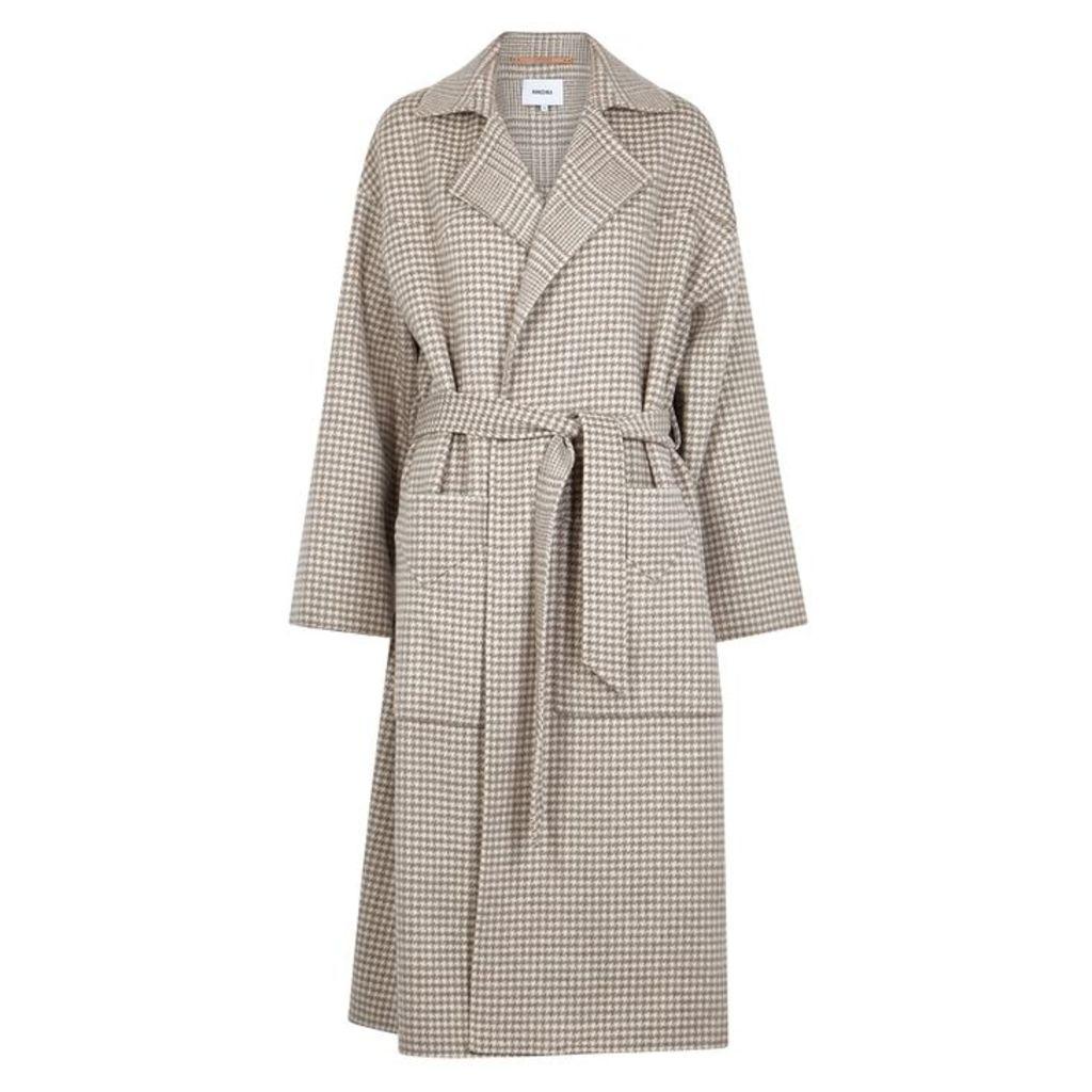 Nanushka Alamo Houndstooth Wool-blend Coat