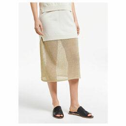 Modern Rarity J. JS Lee Open Knit Midi Skirt, Gold