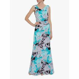 Gina Bacconi Fenella Jersey Maxi Dress, Grey/Aqua