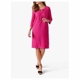 Pure Collection Linen Tie Neck Dress, Raspberry
