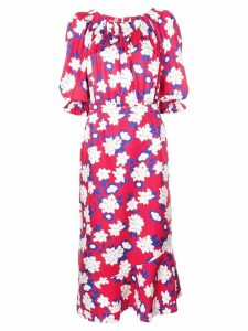 Saloni floral-print dress - Red