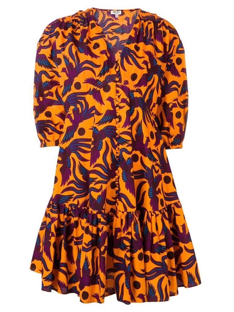 Kenzo bird print dress - Orange