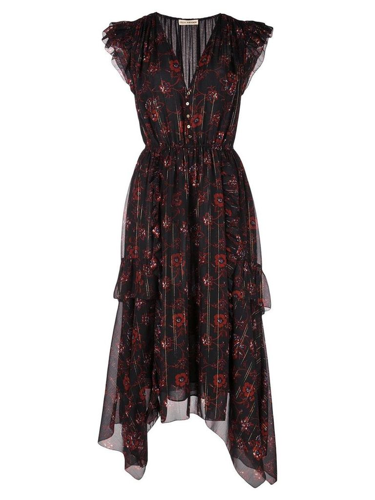 Ulla Johnson floral print asymmetric dress - Black