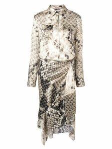 Roberto Cavalli asymmetric mid-length dress - Neutrals