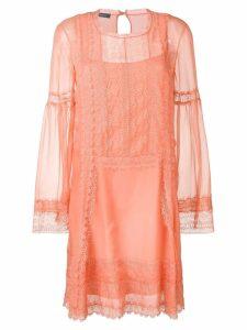Alberta Ferretti lace inserts dress - Pink