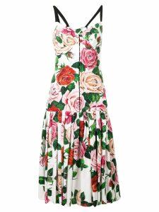Dolce & Gabbana rose print midi dress - White