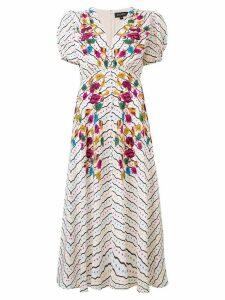 Saloni floral printed midi dress - Neutrals