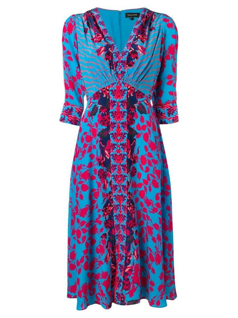 Saloni floral print midi dress - Blue