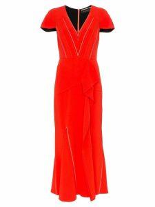 Roland Mouret Bates stretch V-neck ruffle detail dress - Red