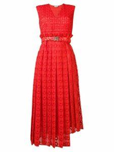 Fendi textured belted dress - Orange