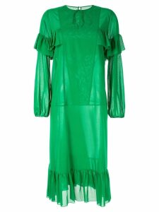 Rochas ruffle trim dress - Green