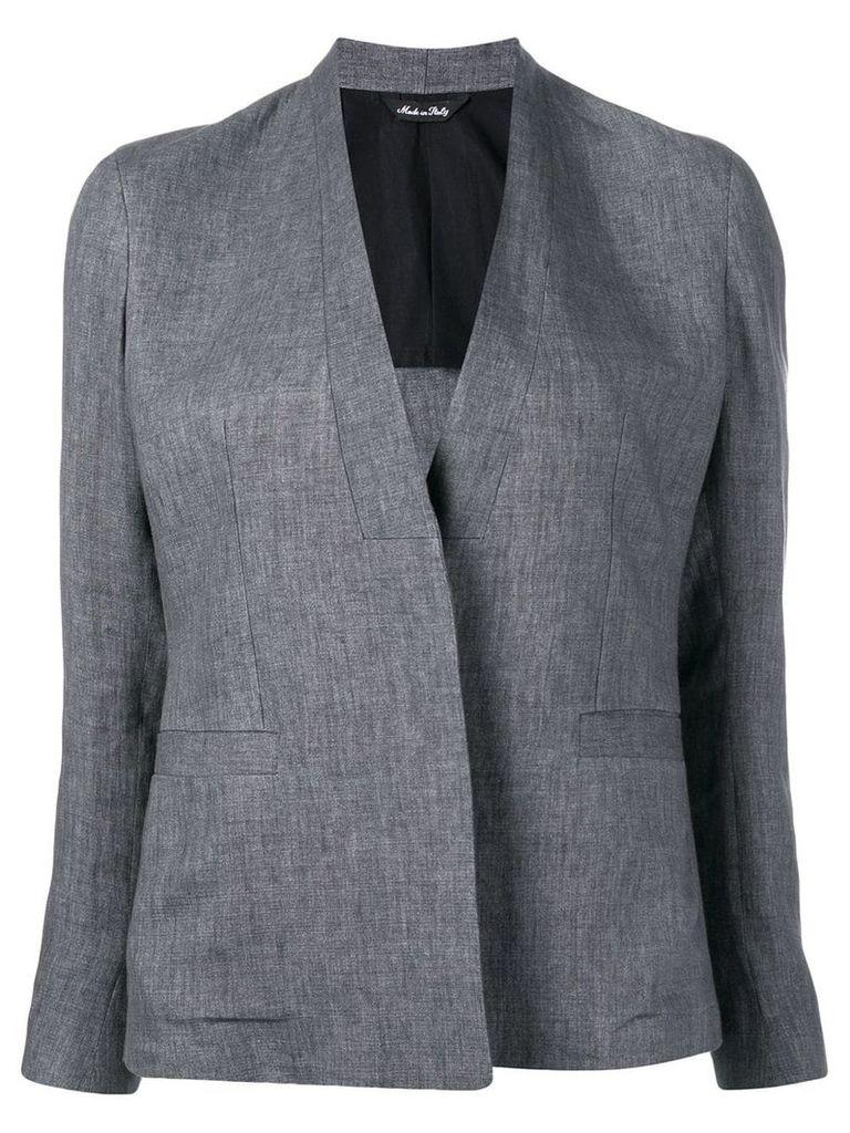 Sartorial Monk collarless fitted blazer - Grey