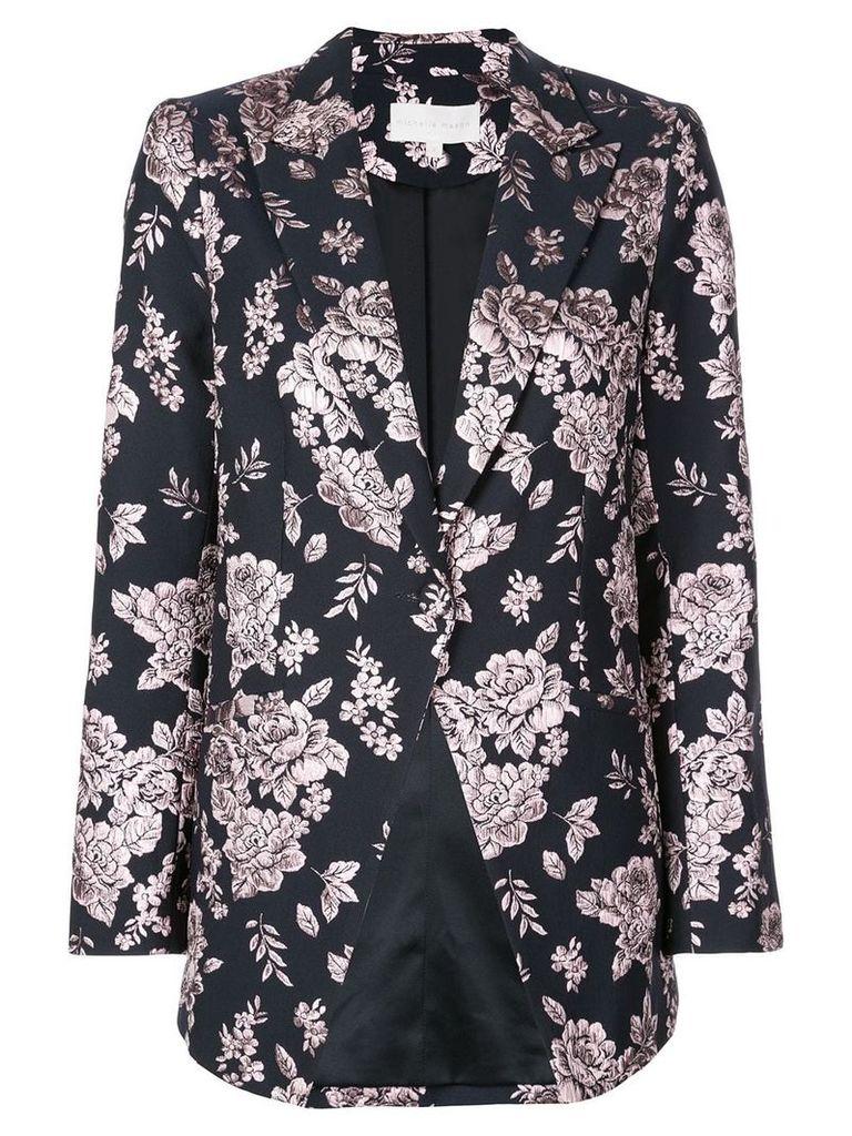 Michelle Mason boxy floral embroidered blazer - Black