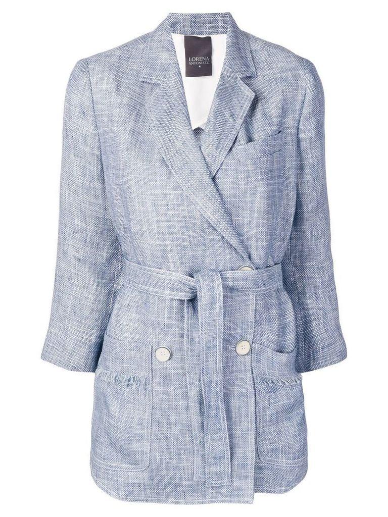 Lorena Antoniazzi frayed double-breasted blazer - Blue