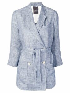 Lorena Antoniazzi frayed double-breasted blazer - Blue