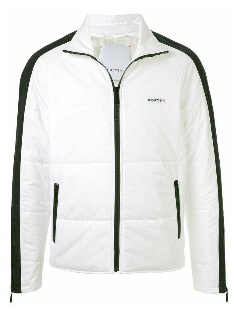 Ports V contrast detail jacket - White